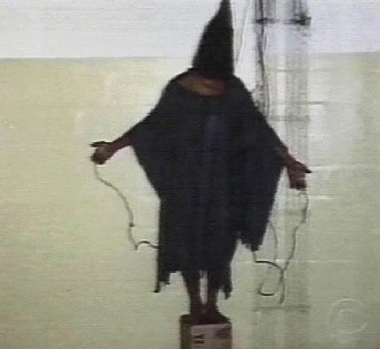 Iraqi man hooded and told would be electrocuted if fell from box by American soldiers