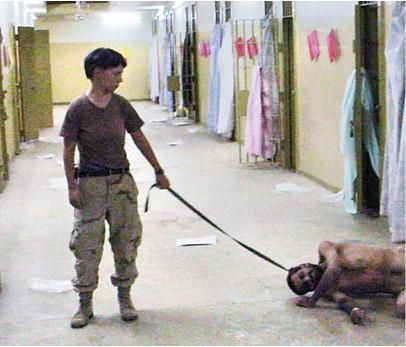Naked Iraqi man held on leash by female soldier